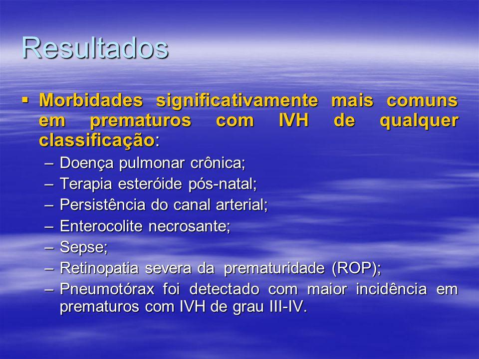 Resultados Morbidades significativamente mais comuns em prematuros com IVH de qualquer classificação: