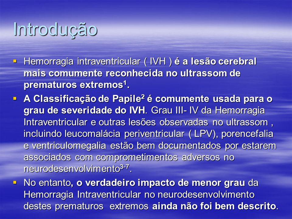 Introdução Hemorragia intraventricular ( IVH ) é a lesão cerebral mais comumente reconhecida no ultrassom de prematuros extremos1.