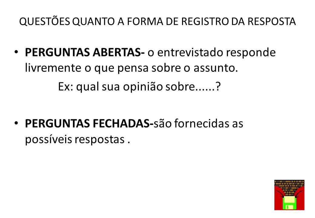 QUESTÕES QUANTO A FORMA DE REGISTRO DA RESPOSTA