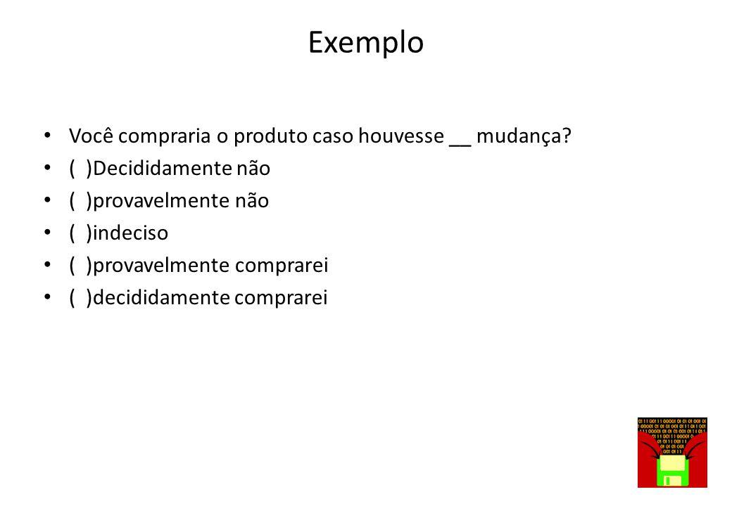 Exemplo Você compraria o produto caso houvesse __ mudança
