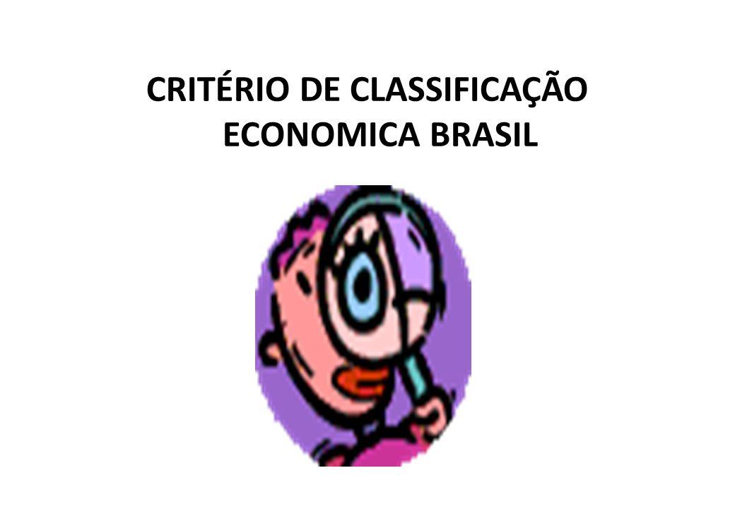 CRITÉRIO DE CLASSIFICAÇÃO ECONOMICA BRASIL