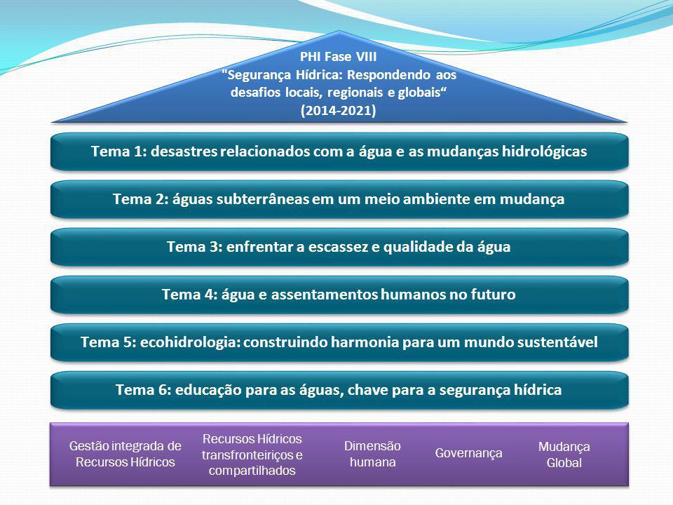 Tema 1: desastres relacionados com a água e as mudanças hidrológicas