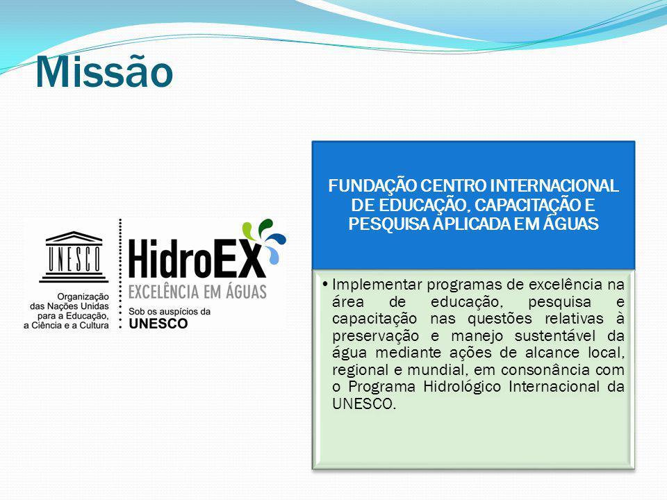 Missão FUNDAÇÃO CENTRO INTERNACIONAL DE EDUCAÇÃO, CAPACITAÇÃO E PESQUISA APLICADA EM ÁGUAS.