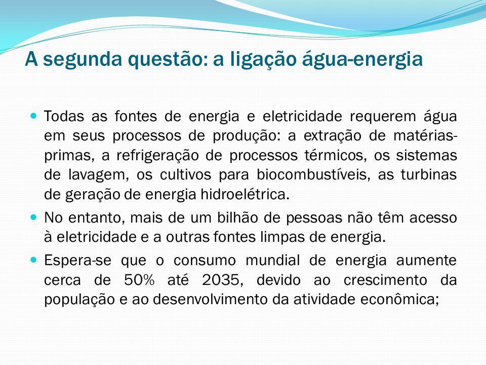 A segunda questão: a ligação água-energia