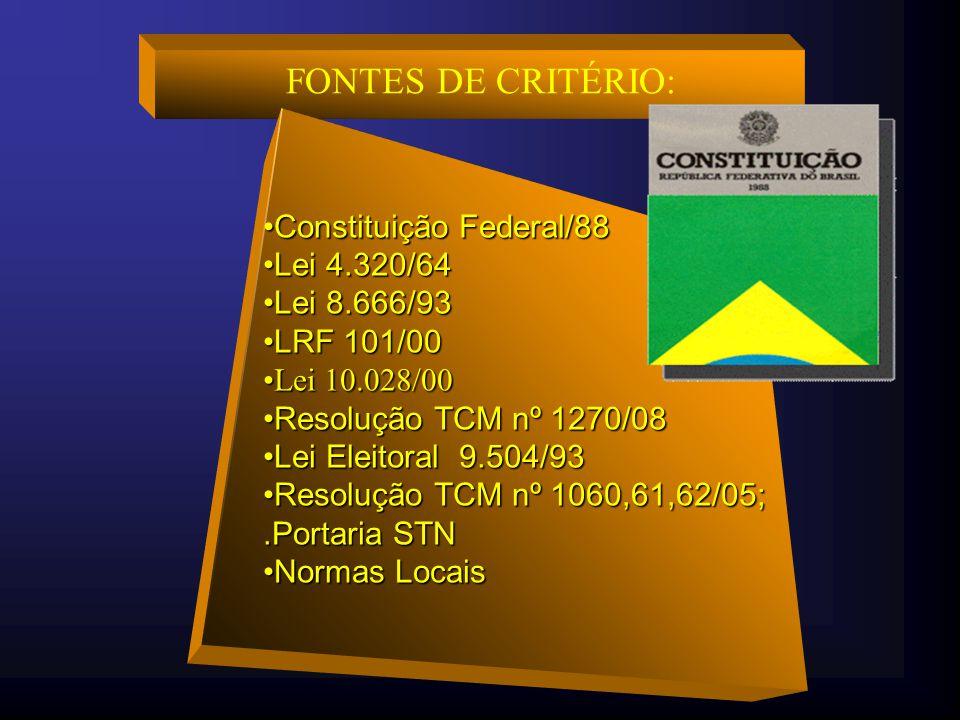 FONTES DE CRITÉRIO: Constituição Federal/88 Lei 4.320/64 Lei 8.666/93