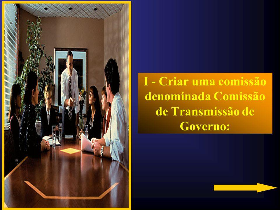 I - Criar uma comissão denominada Comissão de Transmissão de Governo: