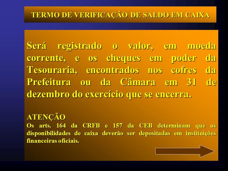 TERMO DE VERIFICAÇÃO DE SALDO EM CAIXA