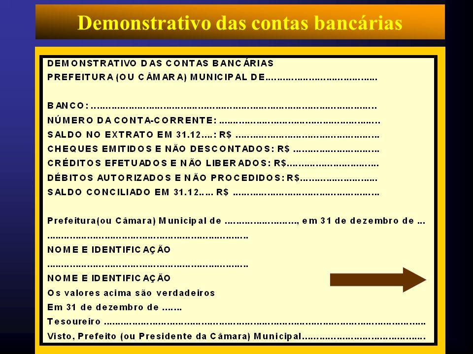 Demonstrativo das contas bancárias