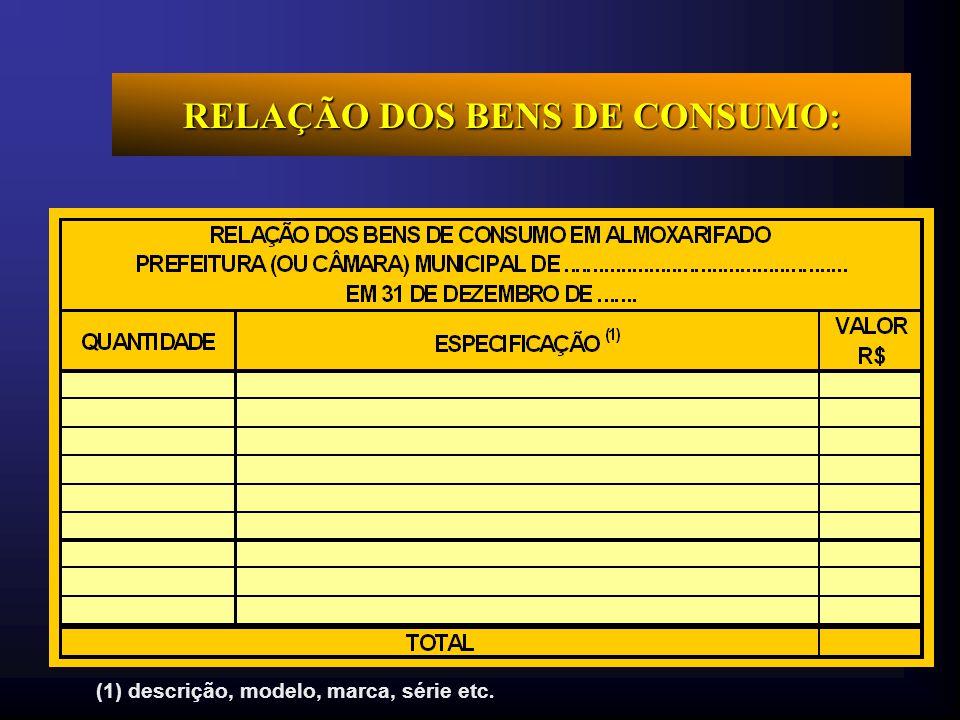 RELAÇÃO DOS BENS DE CONSUMO: