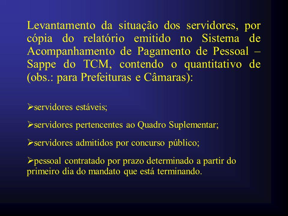 Levantamento da situação dos servidores, por cópia do relatório emitido no Sistema de Acompanhamento de Pagamento de Pessoal – Sappe do TCM, contendo o quantitativo de (obs.: para Prefeituras e Câmaras):