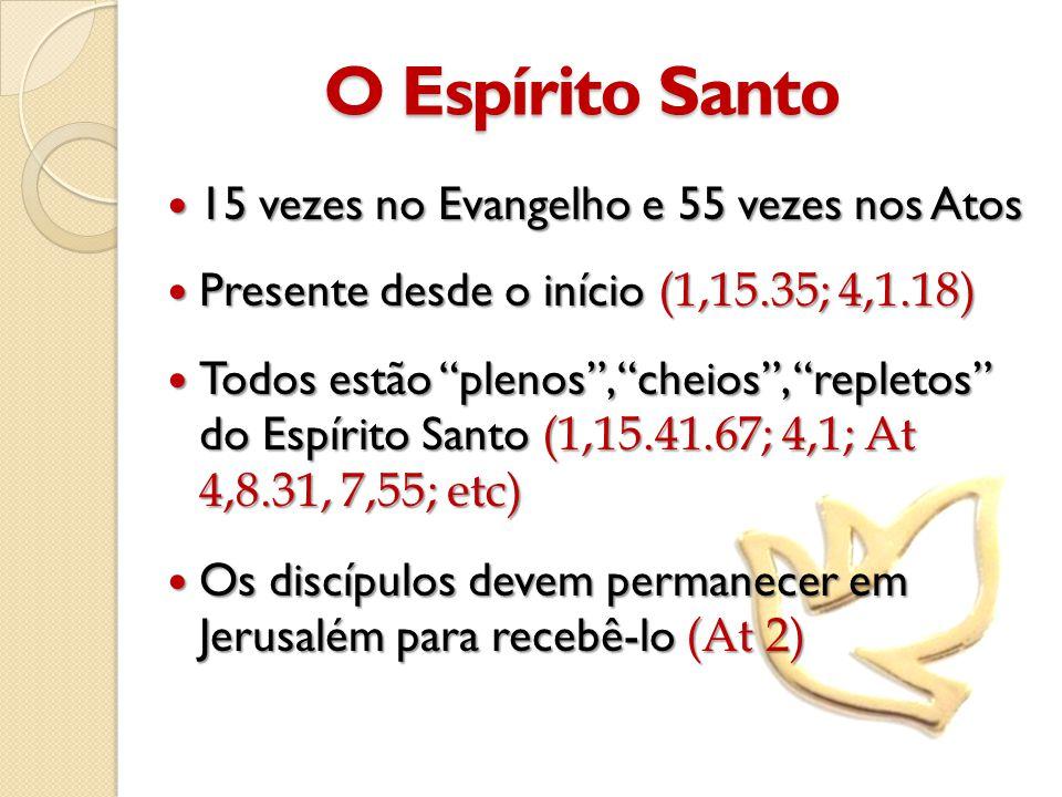 O Espírito Santo 15 vezes no Evangelho e 55 vezes nos Atos