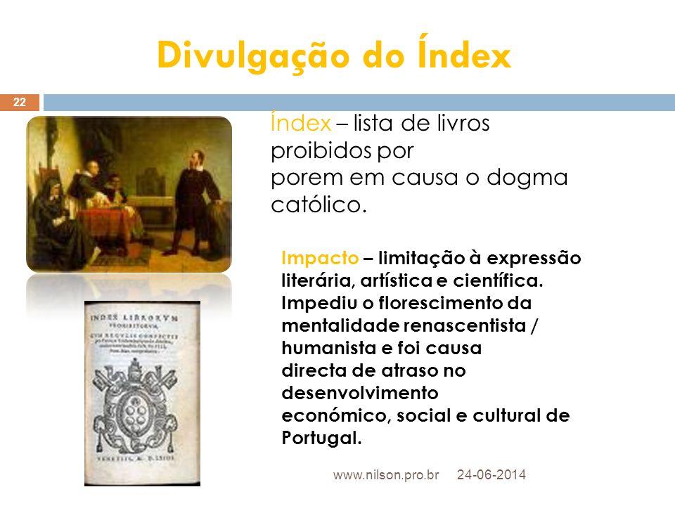 Divulgação do Índex Índex – lista de livros proibidos por
