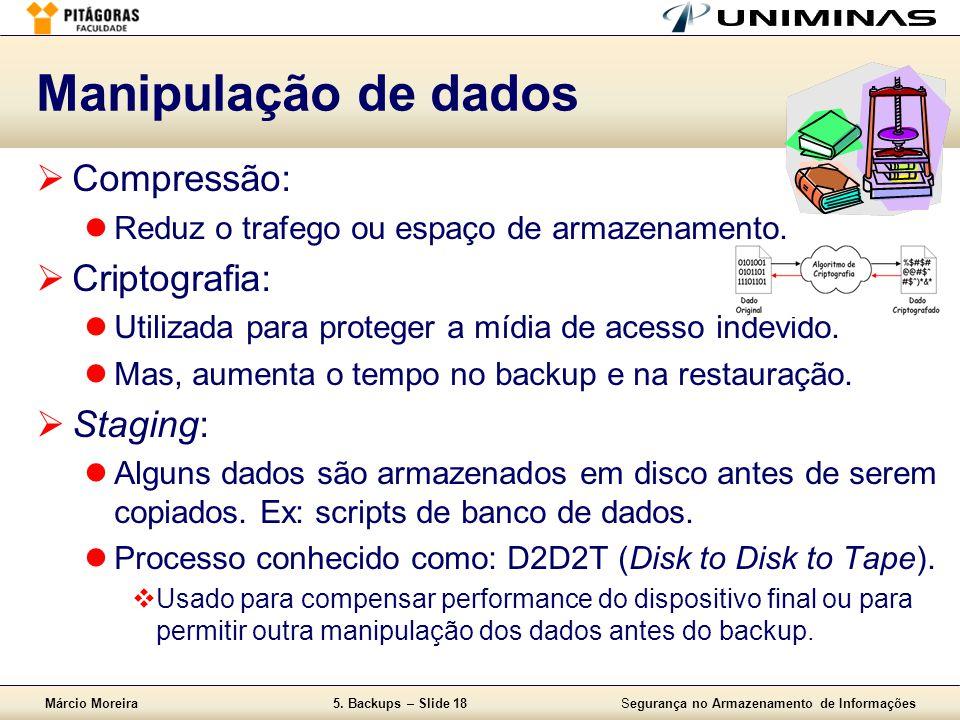 Manipulação de dados Compressão: Criptografia: Staging: