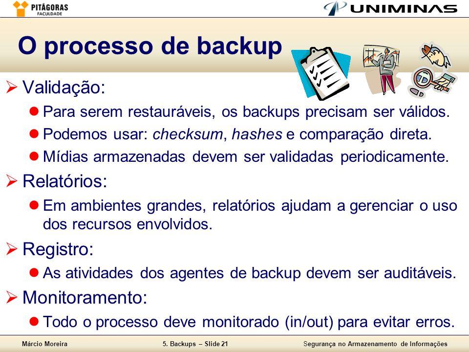 O processo de backup Validação: Relatórios: Registro: Monitoramento: