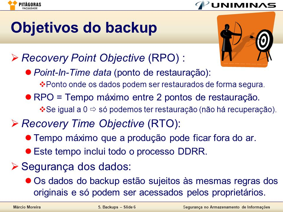 Objetivos do backup Recovery Point Objective (RPO) :