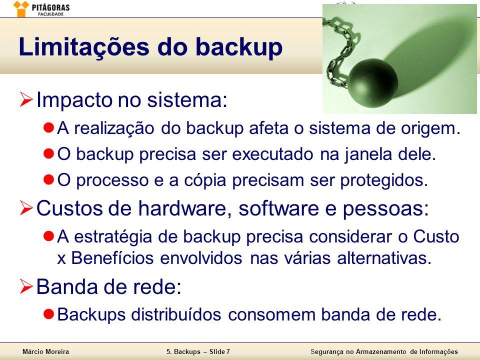 Limitações do backup Impacto no sistema: