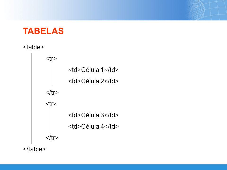 TABELAS <table> <tr> <td>Célula 1</td>