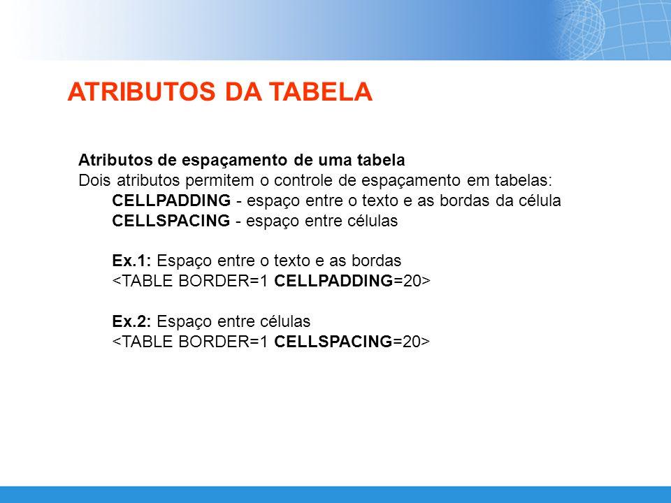 ATRIBUTOS DA TABELA Atributos de espaçamento de uma tabela
