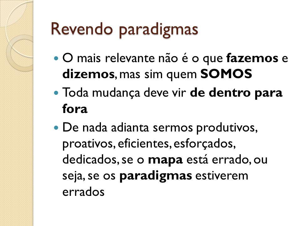 Revendo paradigmas O mais relevante não é o que fazemos e dizemos, mas sim quem SOMOS. Toda mudança deve vir de dentro para fora.