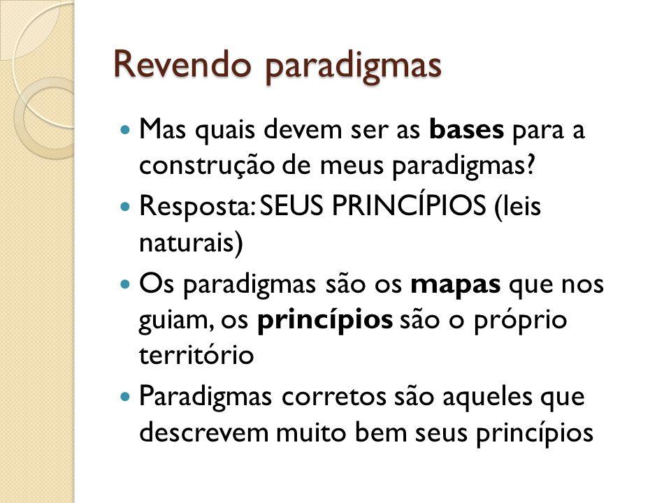 Revendo paradigmas Mas quais devem ser as bases para a construção de meus paradigmas Resposta: SEUS PRINCÍPIOS (leis naturais)