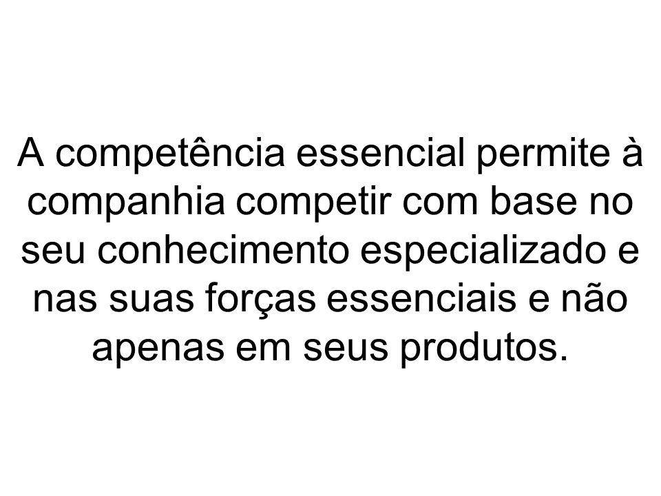 A competência essencial permite à companhia competir com base no seu conhecimento especializado e nas suas forças essenciais e não apenas em seus produtos.