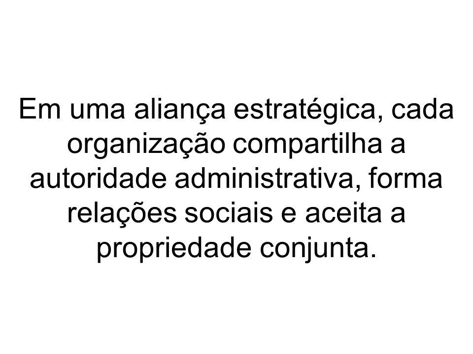 Em uma aliança estratégica, cada organização compartilha a autoridade administrativa, forma relações sociais e aceita a propriedade conjunta.