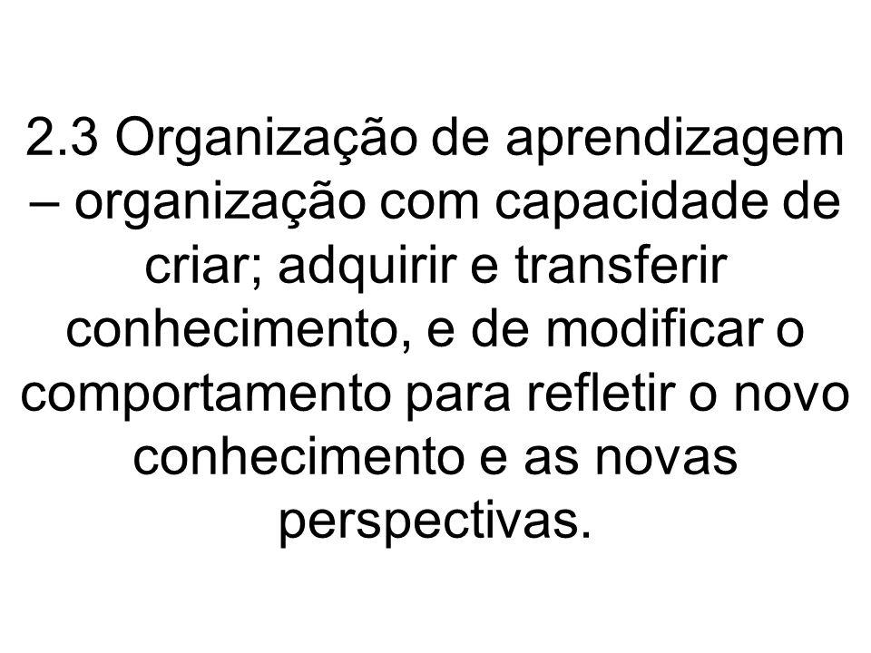 2.3 Organização de aprendizagem – organização com capacidade de criar; adquirir e transferir conhecimento, e de modificar o comportamento para refletir o novo conhecimento e as novas perspectivas.