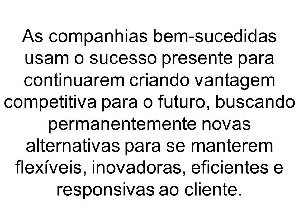 As companhias bem-sucedidas usam o sucesso presente para continuarem criando vantagem competitiva para o futuro, buscando permanentemente novas alternativas para se manterem flexíveis, inovadoras, eficientes e responsivas ao cliente.