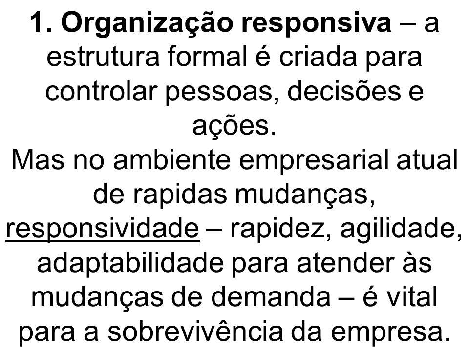 1. Organização responsiva – a estrutura formal é criada para controlar pessoas, decisões e ações.