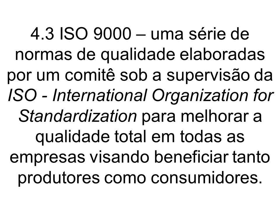 4.3 ISO 9000 – uma série de normas de qualidade elaboradas por um comitê sob a supervisão da ISO - International Organization for Standardization para melhorar a qualidade total em todas as empresas visando beneficiar tanto produtores como consumidores.