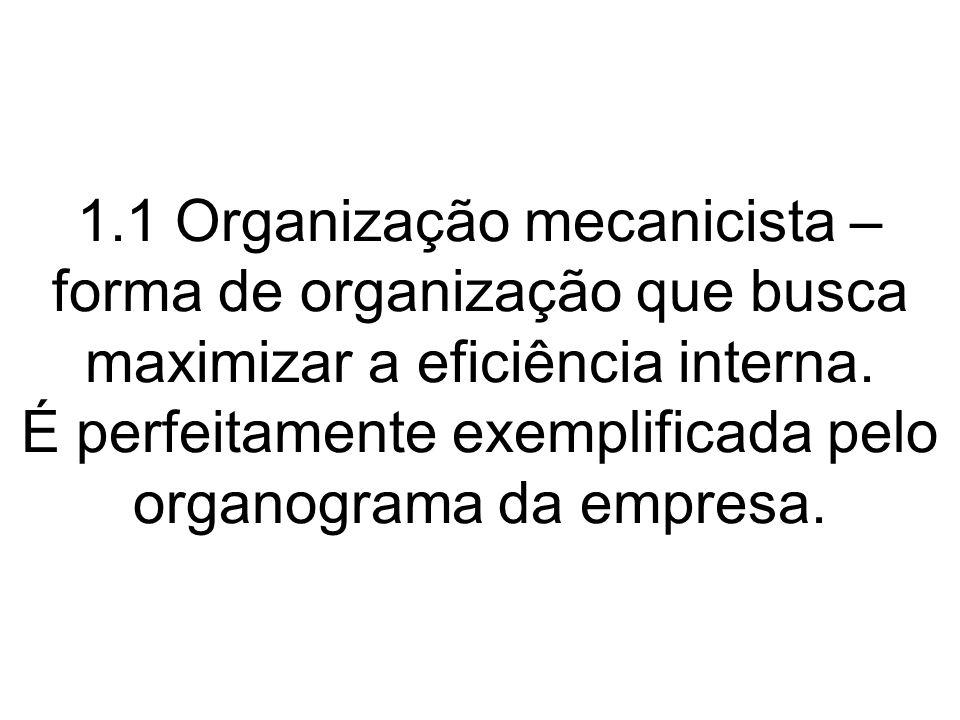 1.1 Organização mecanicista – forma de organização que busca maximizar a eficiência interna.