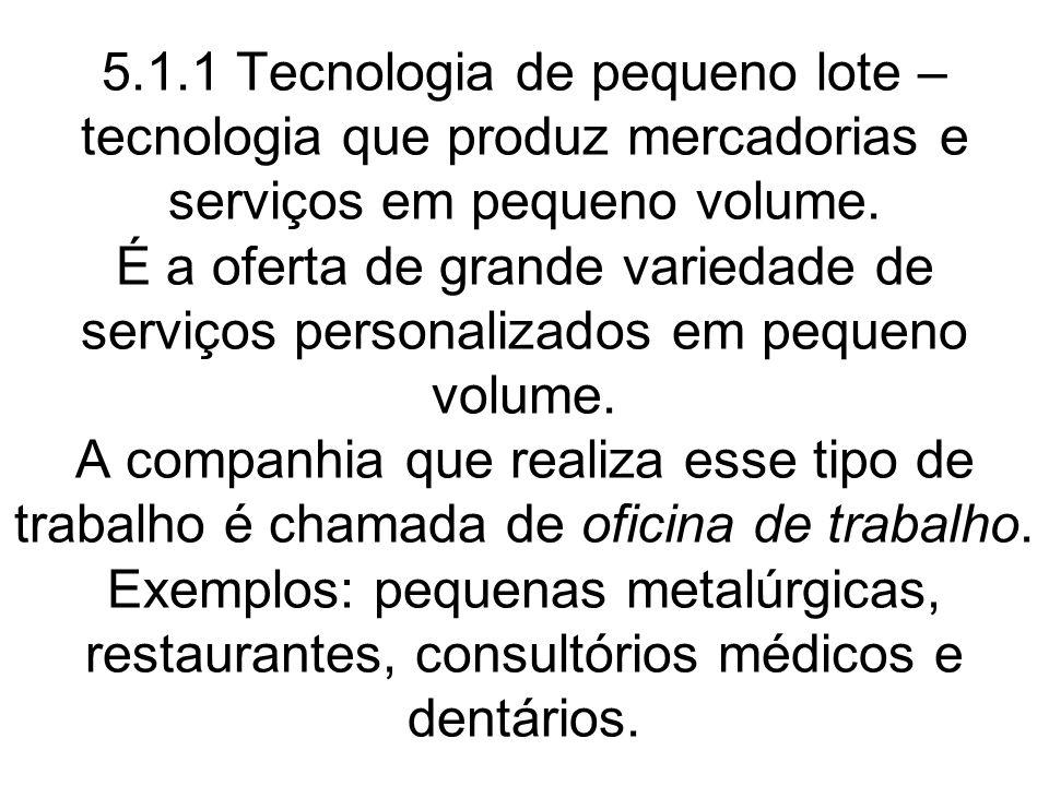 5.1.1 Tecnologia de pequeno lote – tecnologia que produz mercadorias e serviços em pequeno volume.