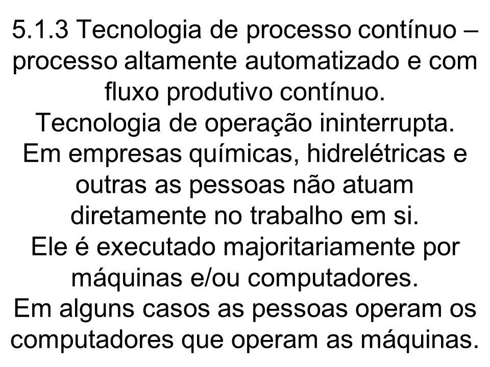 5.1.3 Tecnologia de processo contínuo – processo altamente automatizado e com fluxo produtivo contínuo.