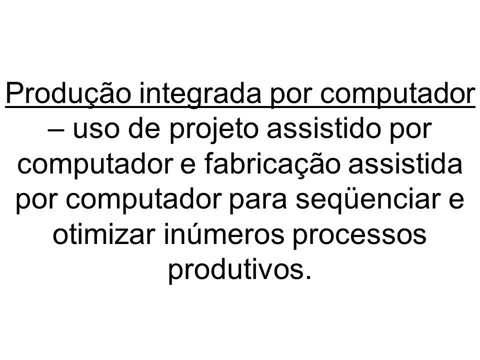 Produção integrada por computador – uso de projeto assistido por computador e fabricação assistida por computador para seqüenciar e otimizar inúmeros processos produtivos.