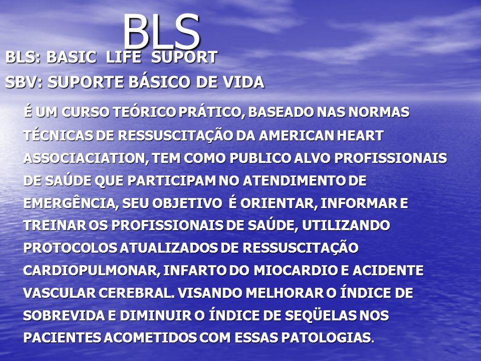 BLS BLS: BASIC LIFE SUPORT SBV: SUPORTE BÁSICO DE VIDA