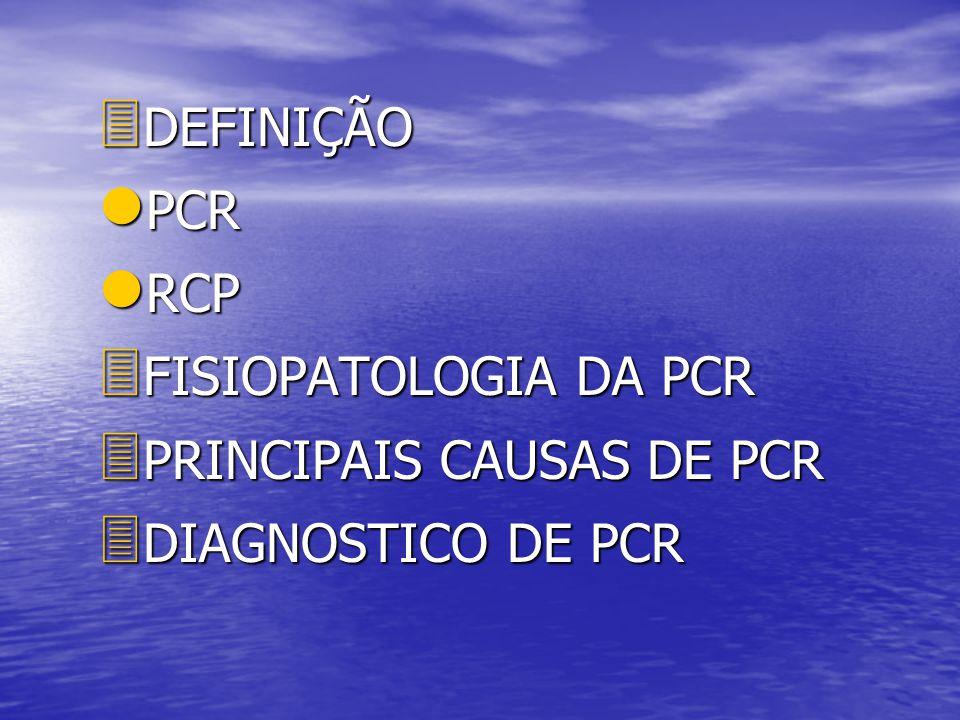 DEFINIÇÃO PCR RCP FISIOPATOLOGIA DA PCR PRINCIPAIS CAUSAS DE PCR DIAGNOSTICO DE PCR