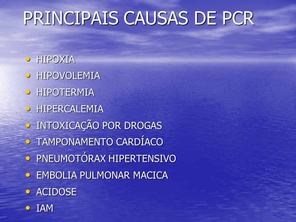 PRINCIPAIS CAUSAS DE PCR