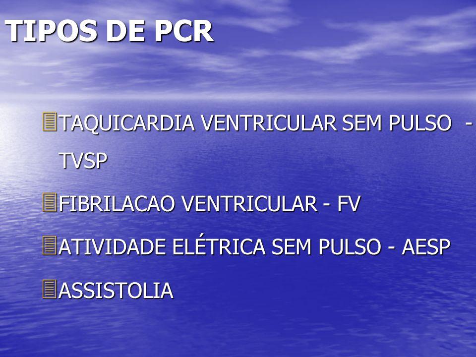 TIPOS DE PCR TAQUICARDIA VENTRICULAR SEM PULSO - TVSP