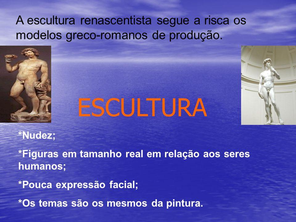 A escultura renascentista segue a risca os modelos greco-romanos de produção.