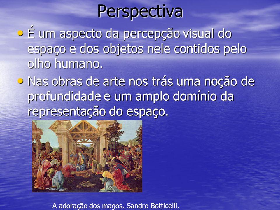 Perspectiva É um aspecto da percepção visual do espaço e dos objetos nele contidos pelo olho humano.
