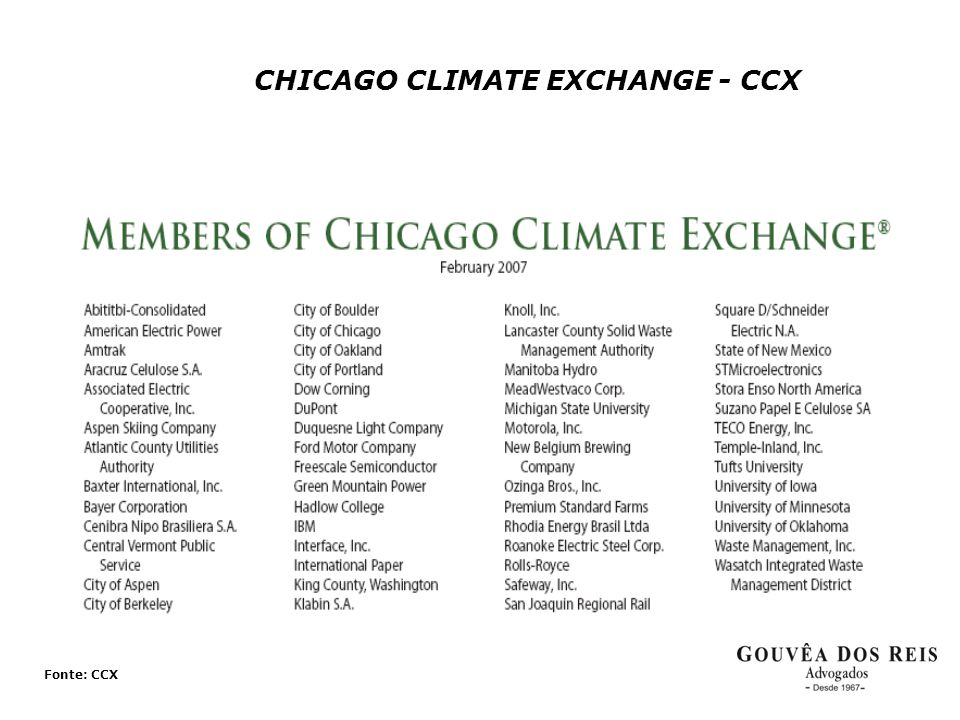 CHICAGO CLIMATE EXCHANGE - CCX