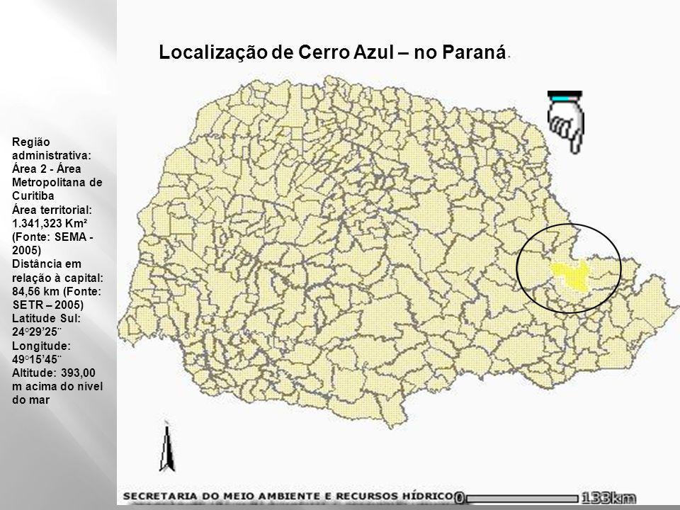 Localização de Cerro Azul – no Paraná
