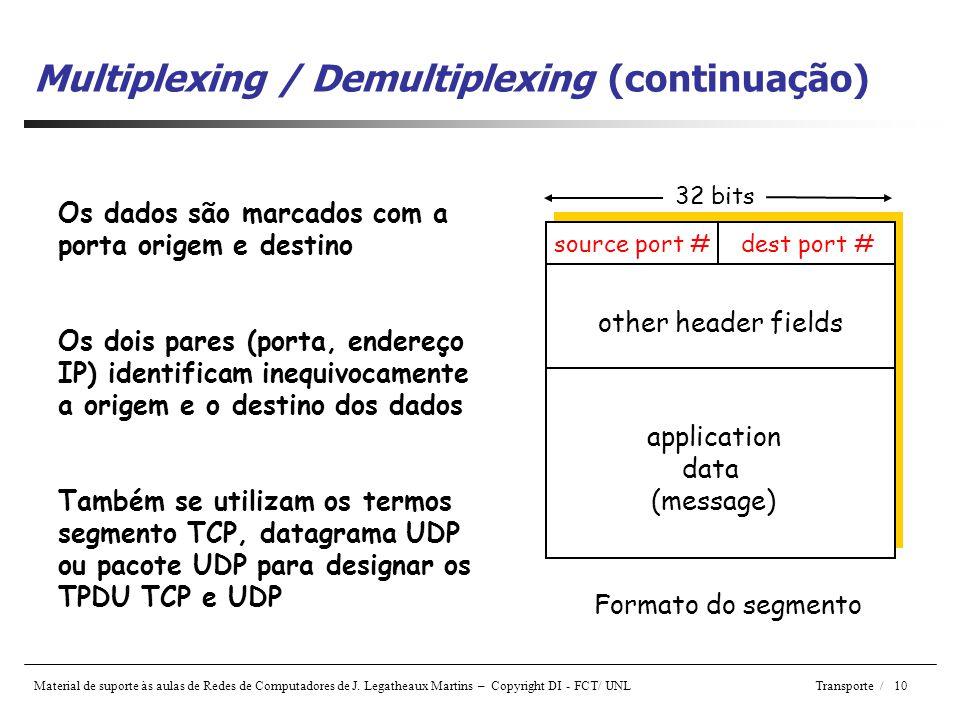 Multiplexing / Demultiplexing (continuação)