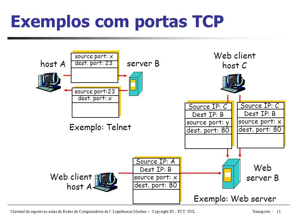 Exemplos com portas TCP
