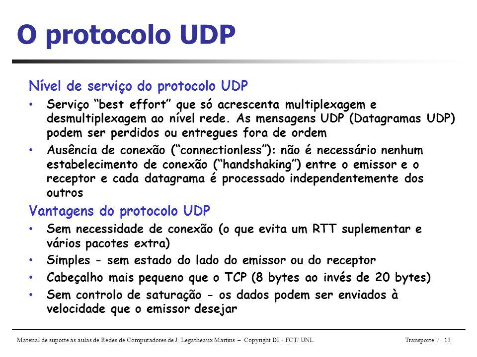 O protocolo UDP Nível de serviço do protocolo UDP