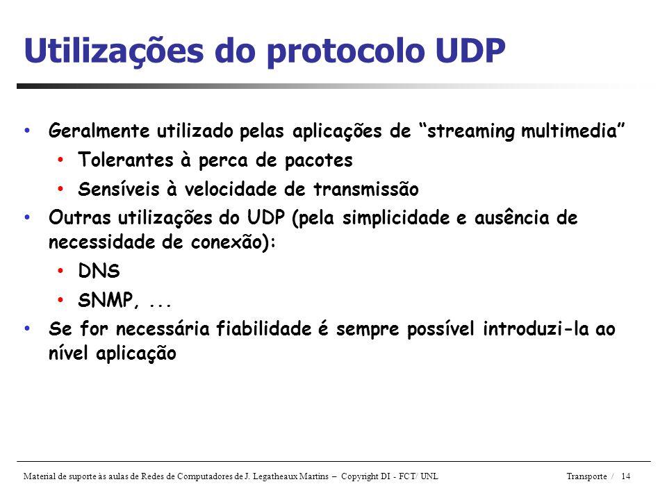 Utilizações do protocolo UDP