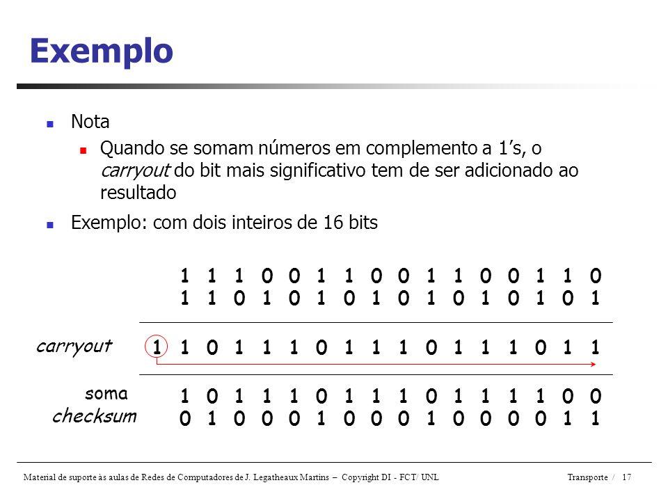Exemplo Nota. Quando se somam números em complemento a 1's, o carryout do bit mais significativo tem de ser adicionado ao resultado.