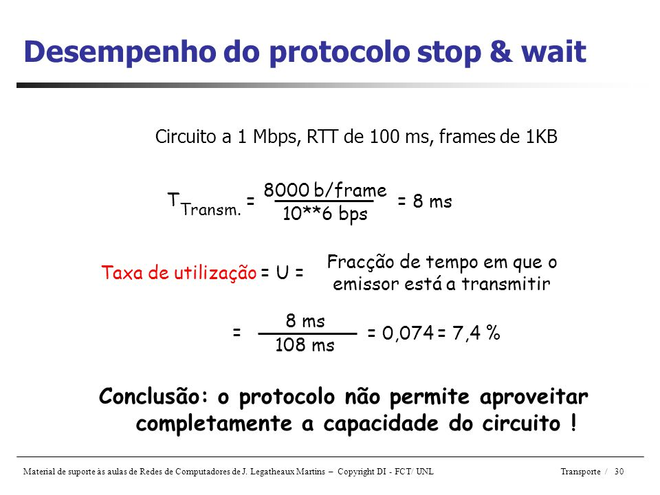 Desempenho do protocolo stop & wait