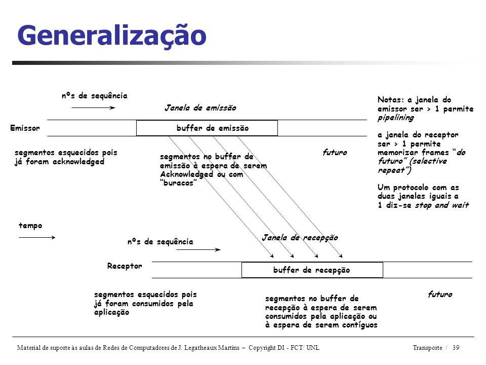 Generalização nºs de sequência Notas: a janela do