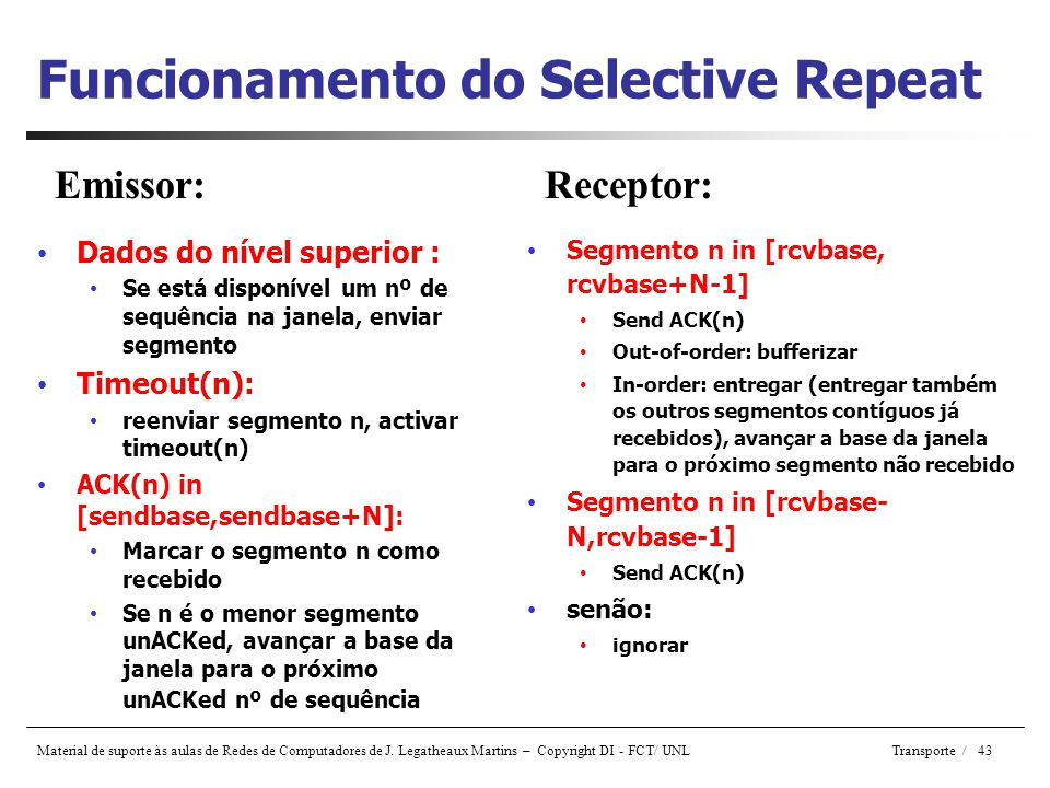 Funcionamento do Selective Repeat